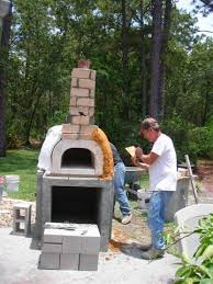 picture of building a diy pizza oven kit into a complete wood fired pizza oven
