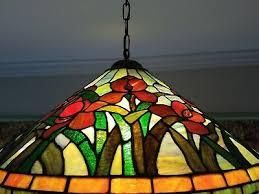 vintage leaded stained glass lamp chandelier elaborate flower signed somars huge
