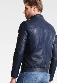mens toby leather jacket blue r64b1 from tommy hilfiger
