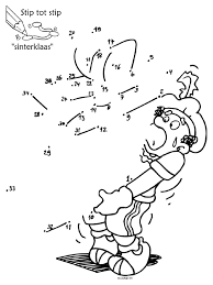 Kleurplaat Stip Tot Stip Sinterklaas Puzzel Kleurplatennl