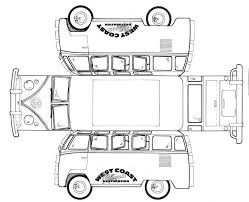 Vw T2 Card Template Crafts Paper Models Vw Bus Paper Toys