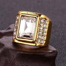 men hip hop gold plated pave rhinestone shiny bling big square ring array