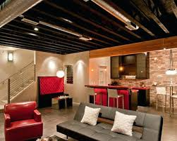 unfinished basement lighting ideas. Unfinished Ceiling Cool Perfect Basement Ideas L Shaped  Lighting