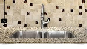 travertine brown color mosaic kitchen backsplash with brown glass inserts from backsplash com