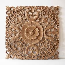 Wood Carved Wall Decor Natural Wooden Wall Art Panel From Thailand Siam Sawadee