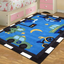 kids room nice rug for kids bedroom perfect use for indoors setting cool blue color background easy maintain and easy to clean fun car and bycicle theme