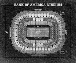 Vintage Style Print Of Bank Of America Stadium Seating Chart On Photo Paper Matte Paper Or Stretched Canvas