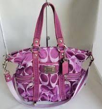 Coach Poppy Signature Spotlight Pocket Tote Shoulder Bag Purple 13843