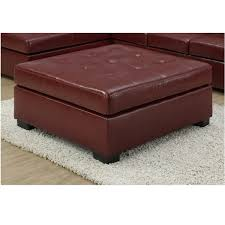 red leather look ottoman