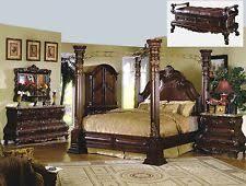 High End Master Bedroom Set Bed Solid Wood Luxury Marble Top Queen Post  Elegant