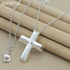 whole 925 sterling silver cross necklace women necklace charm classic pendant necklace free jewelush jewelry