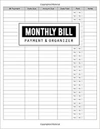 Monthly Bill Budget Monthly Bill Payment Organizer Money Debt Tracker Simple Home