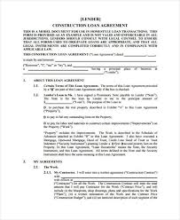 with material construction agreement 9 construction agreement form samples free sample example format