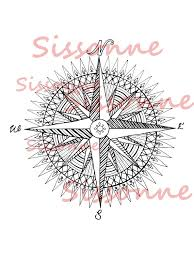 Small Picture Compass Rose Mandala Coloring Page Instant PDF Download