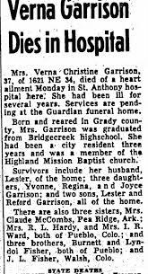 Obituary for Verna Christine Garrison (Aged 37) - Newspapers.com