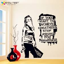 banksy vinyl wall decal want to achieve greatness graffiti street art sticker decor banks style home decoration in wall stickers from home garden on  on banksy wall art sticker with banksy vinyl wall decal want to achieve greatness graffiti street