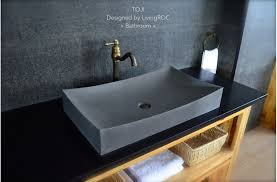 27 stone vessel sink gray natural bathroom basalt stone toji