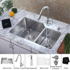 kraus khu123 32 kpf1650 ksd30ch 32 inch undermount double bowl stainless steel kitchen sink with chrome kitchen faucet and soap dispenser expressdecor com