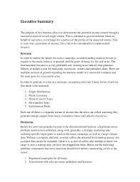Executive Summary Outline Music Marketing Plan Executive Summary