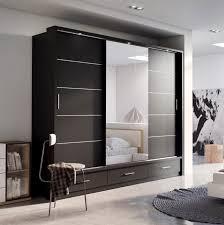... Medium Size of Wardrobe:imposing Black Wardrobe With Mirror Pictures  Inspirations Prague Gloss Door Mirrored