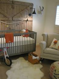 Adorable Country Baby Boy Room Ideas With Grey Wooden Baby Crib Also Accent  Chairs As Well As Barn Wall Exposed And Rugs As Traditional Decors
