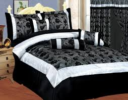 Bedroom Quilts And Curtains Ideas Also Picture Duvet Curtain Sets New  Bedding Black White Silver Gray Satin Comforter Set