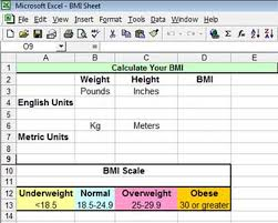 how to calculate bmi in excel