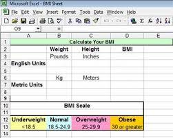 bmi calculation spreadsheet