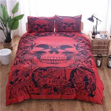red skull printed duvet cover set single double queen king bedclothes bed linen bedding sets no sheet no filling black bedding camouflage bedding from
