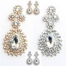 long chandelier earrings diamante crystals drop dangling studs silver gold e03