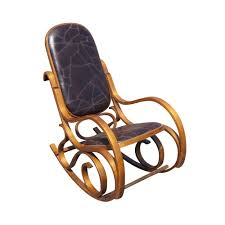 vintage bentwood rocking chair rocking chair in the style of thonet elegant bentwood frame unique brown leather patchwork on seat and back