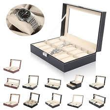mens watch storage box glass top faux leather watch case organiser bracelet storage display box pillows