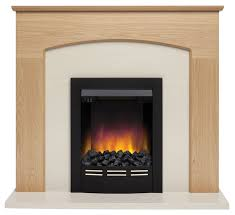 glenmere oak veneer with ivory stone inset electric fireplace suite home delivery only 5030478560985