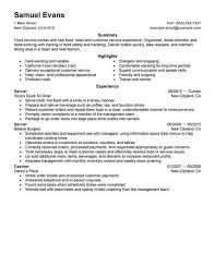 Fast Food Serve Fabulous Quick Resume Template Free Career Resume