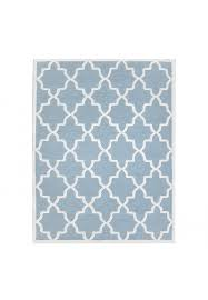 aqua and ivory hand tufted area rug 100 natural wool moroccan trellis design