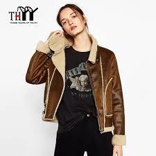 brown faux suede outerwear coats women jacket lambs wool vintage jacket women casaco feminino retro winter