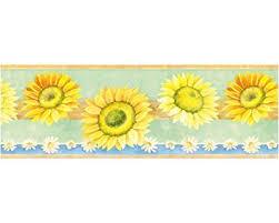 Flower Wall Paper Border Amazon Com Sunflower Escape Prepasted Wallpaper Border Home Kitchen