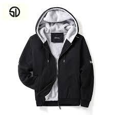 er jacket men vintage thick fleece hoo men fur coat winter blank pattern fashion casual sweatshirt