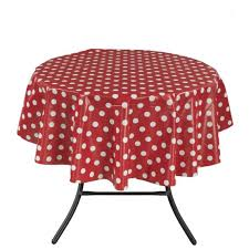 ottomanson tab1150 round vinyl tablecloth polka dot design indoor outdoor tablecloth non woven baking 55 round red ottomanson
