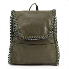 cw k755 olive green women s faux leather chain trim rucksacks handbags zip backpack for