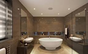 large recessed lighting. Recessed Lighting For Modern Bathroom With Large White Clawfoot Tub And Brown Wall Tiles T