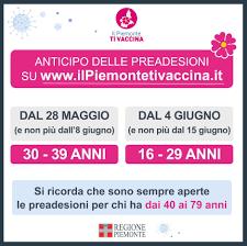 IL PIEMONTE TI VACCINA - AGGIORNAMENTO FASCE 30-39