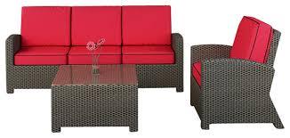barbados 3 piece modern wicker sofa set flagship ruby cushions