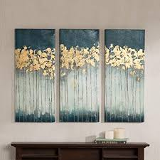 madison park midnight forest abstract hand embellished teal canvas wall art 15x35 3 piece multi panel on transitional canvas wall art with amazon madison park midnight forest abstract hand embellished