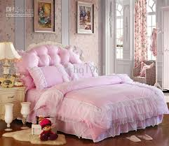 luxury pink lace bedspread princess bedding sets queen king size duvet quilt cover bed skirt