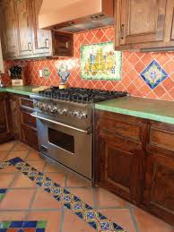 ... fascinating mexican kitchen decor idea feat patterned tiles also rustic  wood cabinets ...