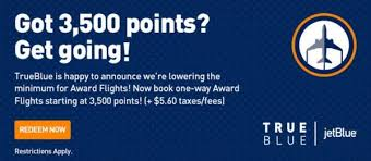 Jetblue Trueblue Lowers Award Minimum To 3 500 Points One