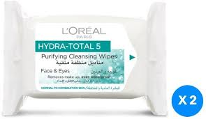 l oreal paris hydra total 5 wipes pack of 2 pieces 2 x 25 s