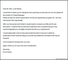 Thank You Letter For Telephone Interview Sample Thank You Letter After Phone Interview Email Group