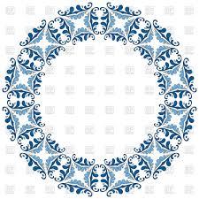 Circle Border Decorative Circle Frame With Blue Elements Mandala Circle Border Stock Vector Image